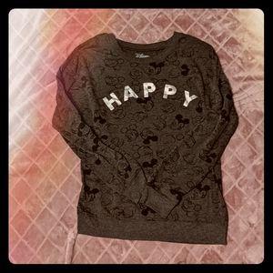 Disney Mickey Mouse Happy Gray Sweater